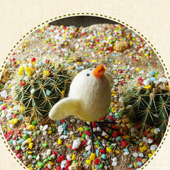 Needle Felted Felting project Animals Bird White yellow Cute Craft
