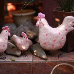 Needle Felted Felting project Animals Hen Chicken Pink Cute Craft
