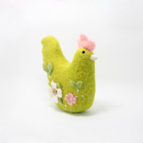 Needle Felted Felting project Animals Hen Green Cute Crafts