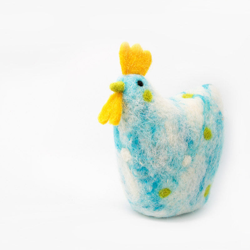 Needle Felted Felting project Animals Rooster Blue Crafts