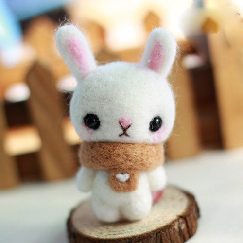 Needle Felted Felting project Animals Bunny  Scarf Cute Craft