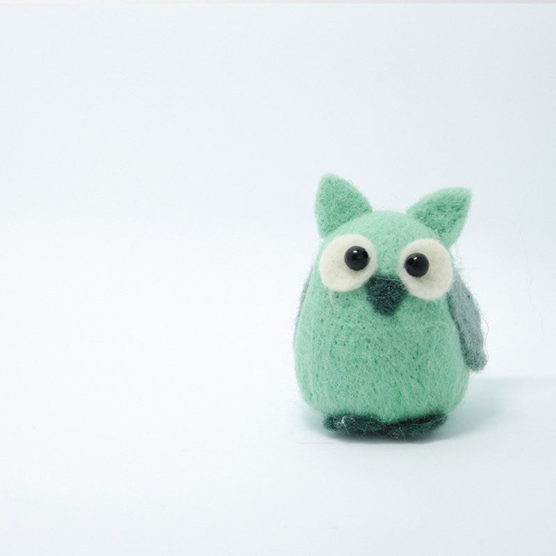 Needle Felted Felting project Animals Owl Green Cute Craft