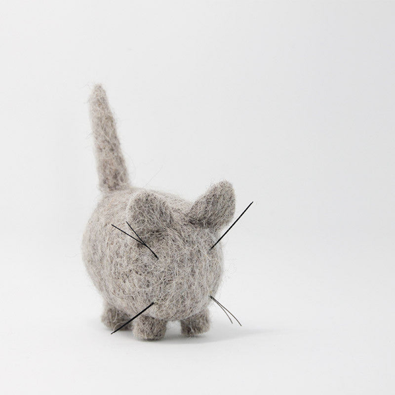Needle Felted Felting project Animals Cat Gray Cute Craft