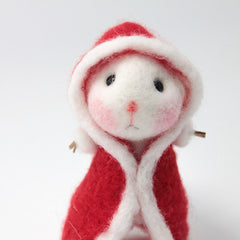 Needle Felted Felting project Animals Cute Red Robe Mouse
