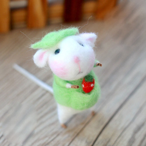 Needle Felted Felting project Animals Cute Green Mice Mouse