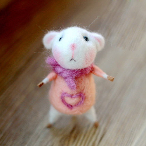 Needle Felted Felting project Animals Cute Mouse Pink Dress