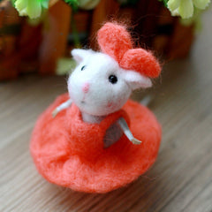 Needle Felted Felting project Wool Animals Cute Red Mouse