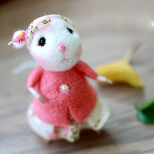 Needle Felted Felting project wool Animals Cute Lady Mouse