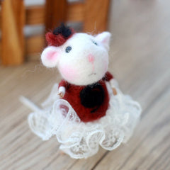 Needle Felted Felting project wool Animals Cute Mouse Lady