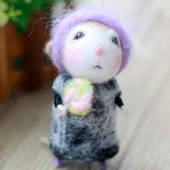 Needle Felted Felting project wool Animals Cute Grandma Mouse