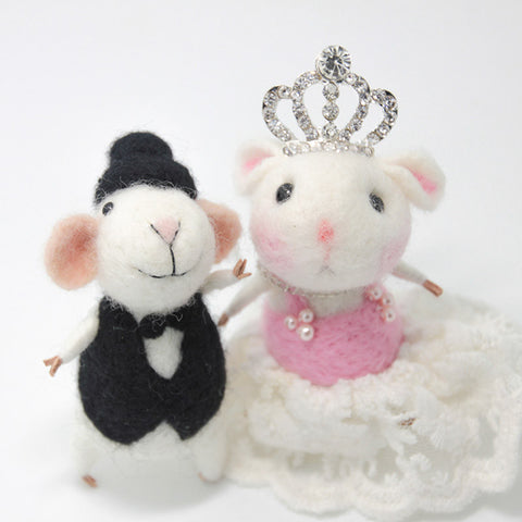 Needle Felting Animals Mice Couple Wedding Cake Topper