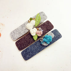 Felted Hair Clip Tie Flower Colorful Jewelry Craft