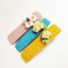 Felt Hair Clip Tie Flower Colorful Jewelry Craft