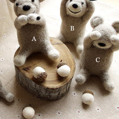 Needle Felted Felting Animals Shy Bears Cute Craft