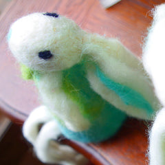 Needle Felted Felting project Animals Long Leg Bunny Green
