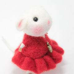 Needle Felted Felting project Animals Cute Red Dress Mouse
