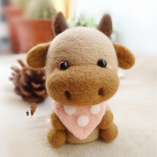 Needle Felted Felting project Wool Animals Brown Cow Cute Craft