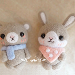 Needle Felted Felting project Wool Animals Bear Bunny Scarf Cute Craft