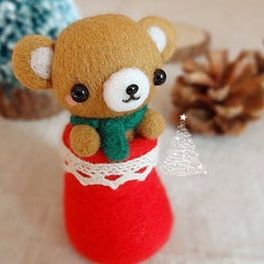 Needle Felted Felting project Wool Animals Christmas Bear Cute Craft