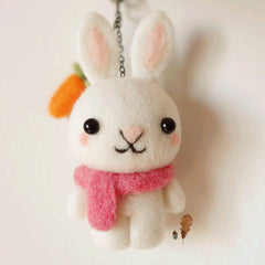 Needle Felted Felting project Wool Animals Bunny White Scarf Cute Craft