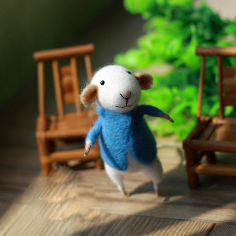 Needle Felted Felting project Wool Animals Cute Blue Jack Mouse