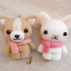 Needle Felted Felting project Wool Animals Cute Bunny Bear Craft