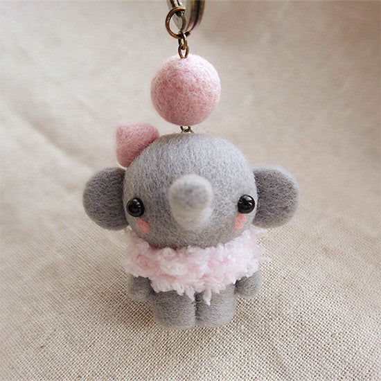 needle felted felting project wool animals cute elephant