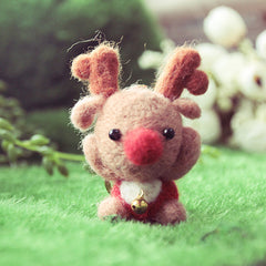 Needle Felted Felting project Wool Animals Cute Xmas Reindeer Red