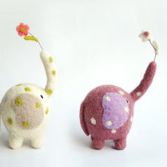 Needle Felted Felting project Animals Elephants Flower Cute Craft
