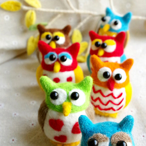Needle Felted Felting project Animals Colorful Owls Cute Craft