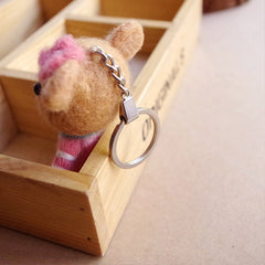 Needle Felted Felting project Animals Bear Cute Keychain Craft