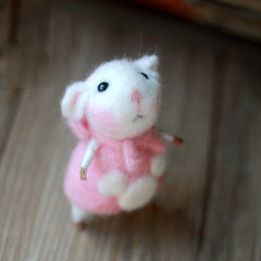 Needle Felted Felting project Animals Cute Pink Dress Mouse