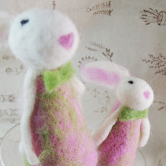 Needle Felted Felting project Animals Long Leg Bunny Pink