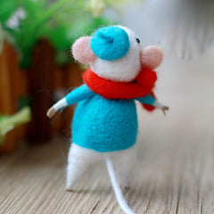 Needle Felted Felting project Wool Animals Cute Scarf Mouse