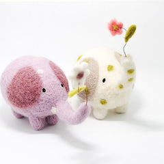 Needle Felted Felting project Animals Elephant Purple Cute Craft