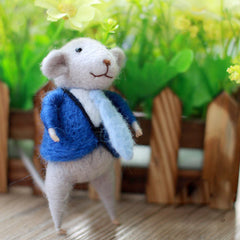 Needle Felted Felting project Wool Animals Cute Blue Suit Mouse
