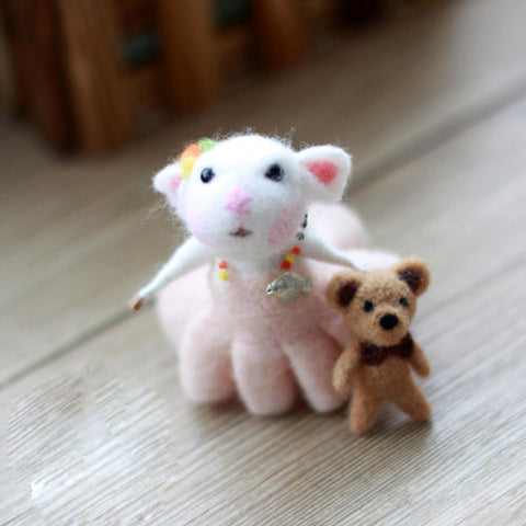 Needle Felted Felting project Wool Animals Cute Pink Mouse