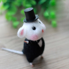 Needle Felted Felting project Wool Animals Cute Black Waiter Mouse
