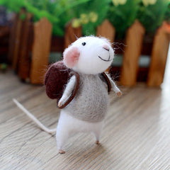 Needle Felted Felting project Wool Animals Gray Cute Backpack Mouse