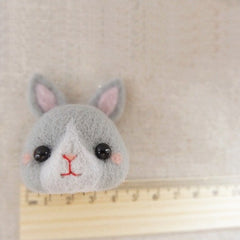 Needle Felted Felting project Wool Animals Gray Bunny Cute Craft