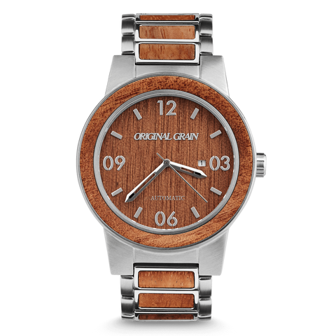 Automatic Mahogany Barrel Wood Dial