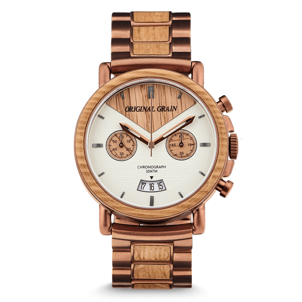 alterra wood barrel leather with watch whiskey espresso band original products chronograph grain large watches