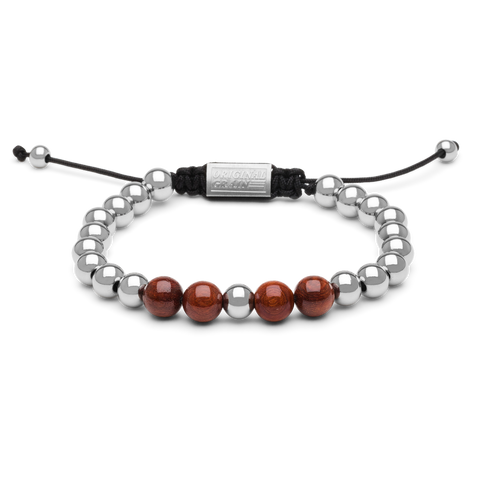 Rosewood Chrome Macrame Bracelet 8mm by Original Grain
