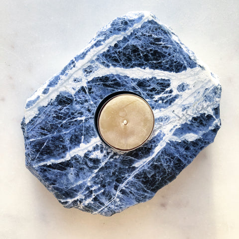Sodalite Crystal~Tealight Candle Holder