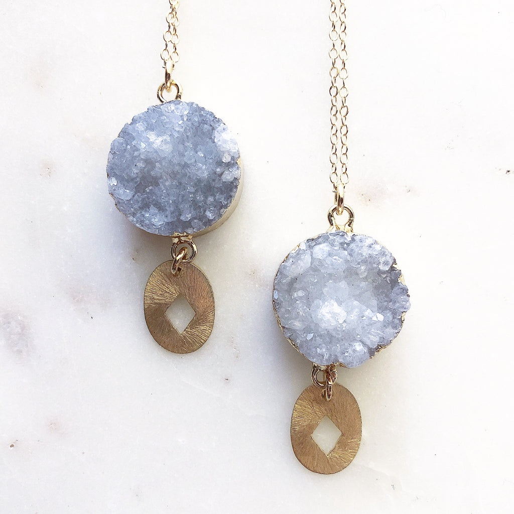 Full Moon Radiance~ Agate Druzy Crystal Necklace
