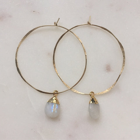 Rainbow Moonstone Drop Hoops