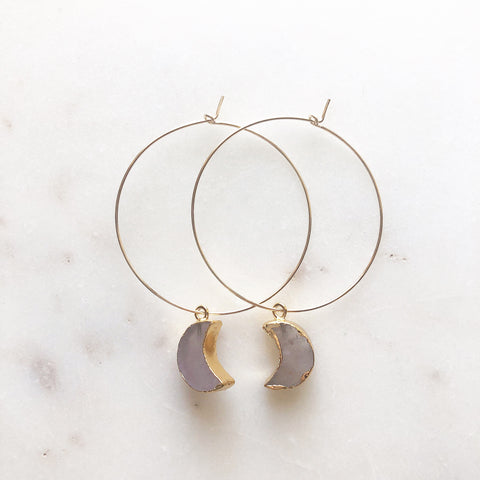 Amethyst Crescent Moon Hoops