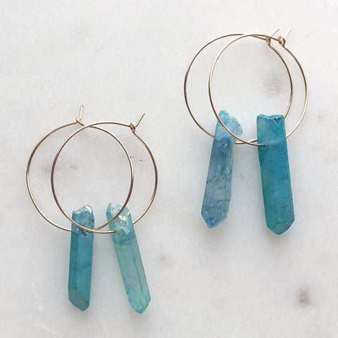 Aqua Aura Quartz Earrings~Medium Hoops