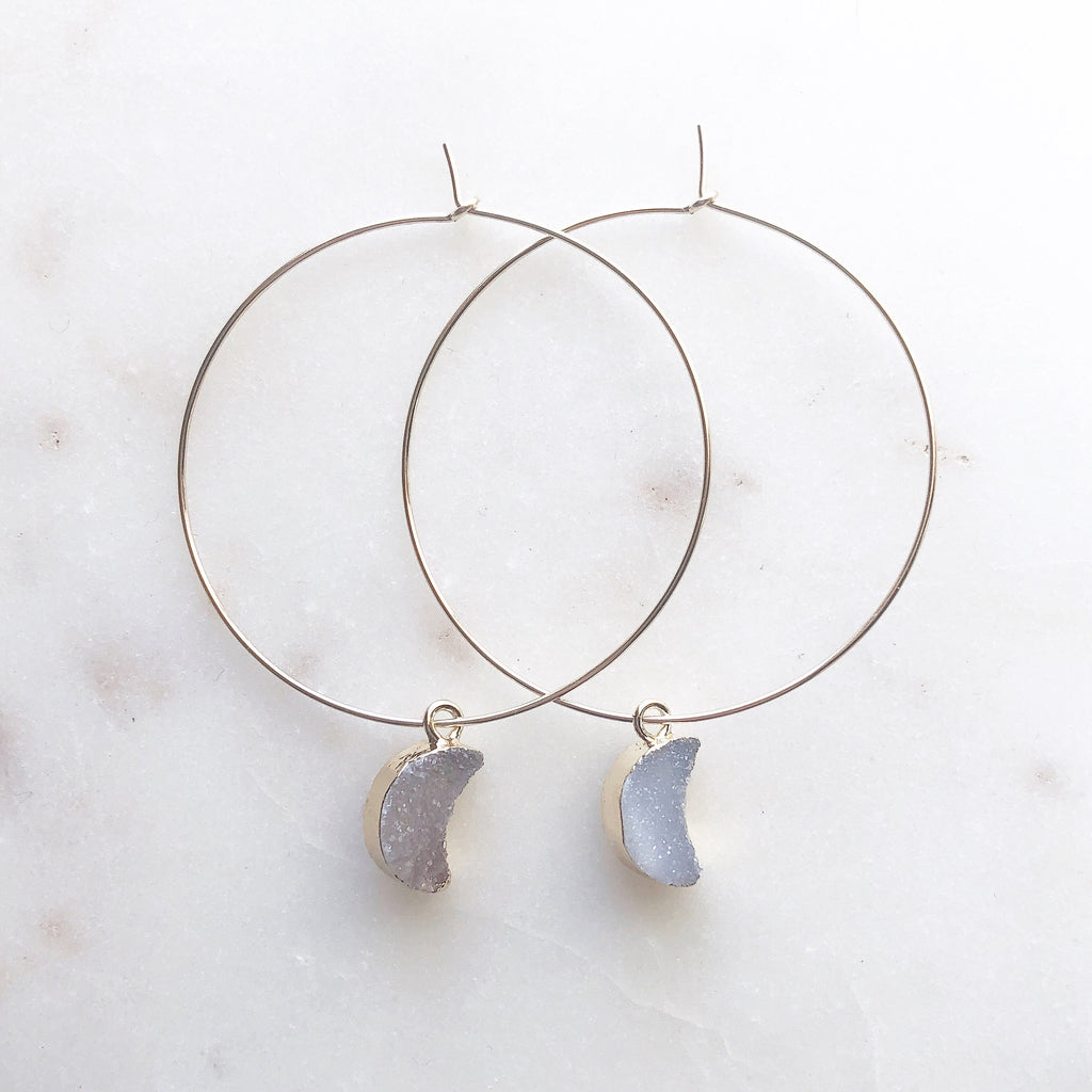Sparkly agate~Crescent Moon Hoops