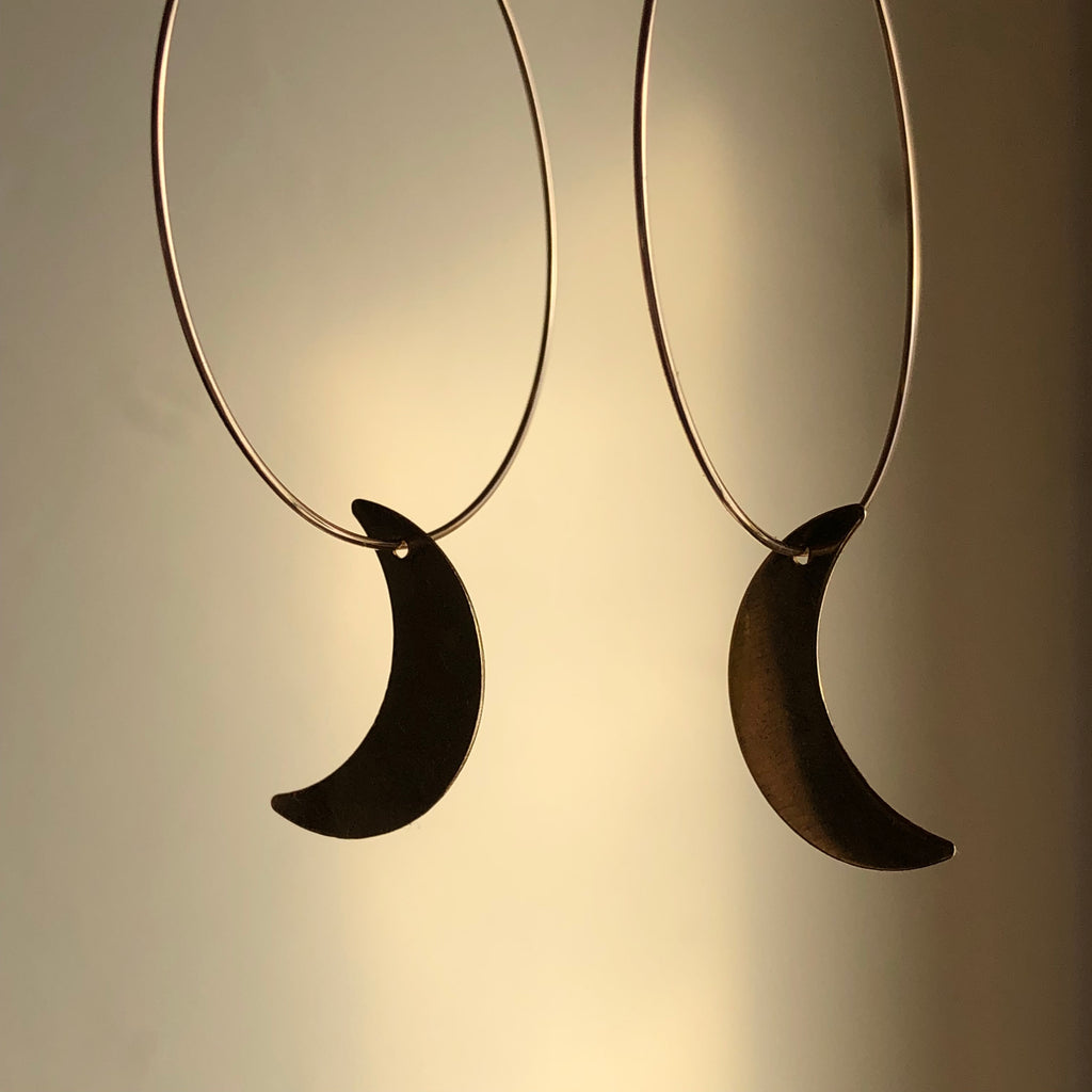 Simple Crescent Moon Hoops